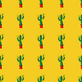 Seamless retro cactus plants for the home illustration pattern Royalty Free Stock Photo