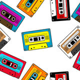 Seamless retro cassettes pattern. Isolated Stock Photo