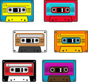 Seamless retro cassettes pattern. Isolated Stock Image