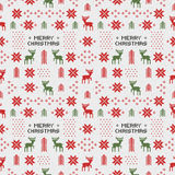 Seamless retro christmas pattern with deers, trees and snowflakes Stock Photo