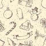 Seamless retro Christmas pattern. Royalty Free Stock Image