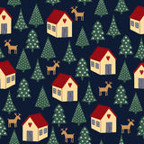 Seamless retro Christmas pattern - varied Xmas trees, houses and deers. Happy New Year background. Vector design for winter holidays on dark blue background Stock Images