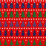 Seamless retro Christmas pattern - varied Xmas trees, stars and snowflakes. Bright Happy New Year background. Vector design for winter holidays. Child drawing Royalty Free Stock Photo