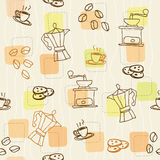 Seamless  retro coffee pattern. Cookies coffee beans Stock Photography