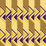 Seamless retro colored pattern of diagonal lines and triangles Stock Photos