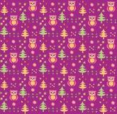 Seamless retro colourful owl bird pattern Royalty Free Stock Photo