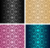 Seamless retro damask Pattern - set of four colors Royalty Free Stock Photography