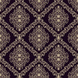 Seamless retro damask Wallpaper for design Stock Photo