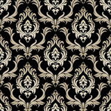 Seamless retro damask Wallpaper - silver floral Ornament on black. Royalty Free Stock Image