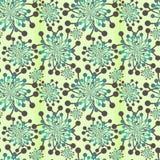 Seamless retro dandelions. Retro dandelions with green background Stock Photo
