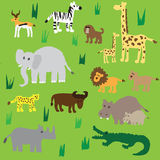 Seamless retro fifties african zoo animals pattern. Vector Royalty Free Stock Photos