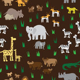 Seamless retro fifties african zoo animals pattern. Vector Stock Image