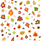 Seamless retro fifties autumn leaves pattern. Vector Royalty Free Stock Photography