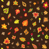 Seamless retro fifties autumn leaves pattern. Vector Stock Photos