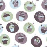 Seamless retro baby boy cupcake pattern Stock Image