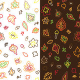Seamless retro fifties stroke autumn leaves patter Royalty Free Stock Photos