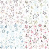 Seamless retro fifties stroke stars design pattern. Different colors Royalty Free Stock Images