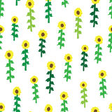 Seamless retro fifties sunflower field pattern Stock Images
