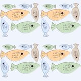 Seamless retro fish background Stock Images