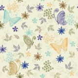 Seamless retro floral background with butterflies. Seamless floral pattern with butterflies and flowers Royalty Free Stock Photography