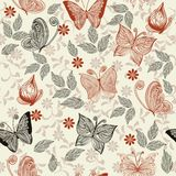 Seamless retro floral background with butterflies. Seamless floral pattern with butterflies and flowers Royalty Free Stock Photo