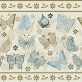 Seamless retro floral background with butterflies  Stock Images
