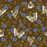 Seamless retro floral background with butterflies. Floral seamless backgrounds for design of fabrics and wallpapers Royalty Free Stock Image