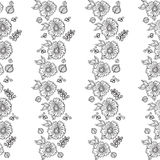 Seamless retro floral background. Seamless retro graphic floral background. Doodle  illustration. Hand drawn sketch for any design Royalty Free Stock Photos
