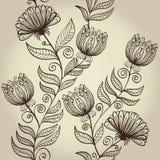 Seamless retro floral background Stock Photo