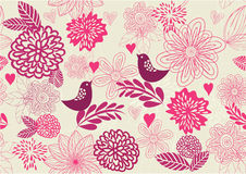 Seamless Retro Floral Background in vector royalty free illustration