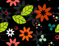 Seamless Retro Floral Bkgrd. Seamless Retro-stylized Floral on Black Background. Tileable, seamless easy-edit layered vector file Stock Photo