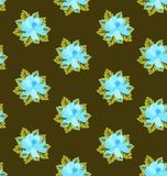 Seamless retro floral pattern in vector. Gentle blue flowers on brown background. Vector summer design.  stock illustration