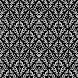 Seamless retro floral Wallpaper - gray Ornament on black. Royalty Free Stock Image