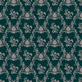 Seamless retro floral Wallpaper on turqoise Stock Photography