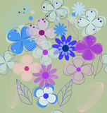 Seamless retro flower background vector Royalty Free Stock Image