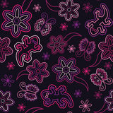 Seamless retro flower butterfly lizard pattern. Pink Royalty Free Stock Photography
