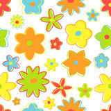 Seamless retro flowers. In bright colors Royalty Free Stock Images