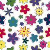 Seamless retro flowers. In trendy colors Royalty Free Stock Photo