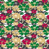 Seamless retro flowers pattern background Stock Photo