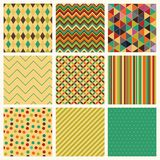 Seamless retro geometric hipster background set. Royalty Free Stock Images