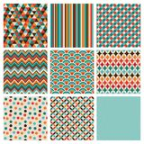 Seamless retro geometric hipster background set. Stock Image