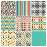 Seamless retro geometric hipster background set. Seamless geometric hipster background set. Retro Vintage Seamless Patterns. Vector Illustration stock illustration