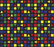 Seamless Retro Geometric Pattern. Colourful pattern based on basic geometric forms and main colours Stock Photo
