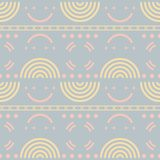 Seamless retro geometric pattern with halved disks. In pastel colors. Disco style vector print Royalty Free Illustration