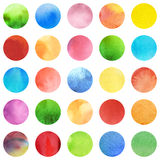 Seamless retro geometric pattern with polka dots. Colored ornament. Watercolor background texture, wrapping paper. Circle multicolored icons, red, green, blue Stock Image