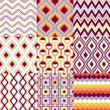 Seamless retro geometric pattern set Stock Photo