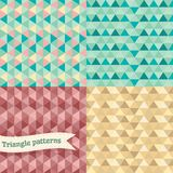 Seamless retro geometric Triangle background set. Royalty Free Stock Photography