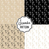Seamless retro hand drawn flower pattern in beige, black and white vector set Stock Photo