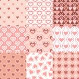 Seamless retro heart background. Seamless retro pink heart background set Royalty Free Illustration