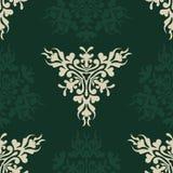 Seamless retro heraldic pattern on green Stock Photography
